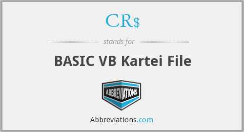 CR$ - BASIC VB Kartei File