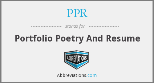 PPR - Portfolio Poetry And Resume
