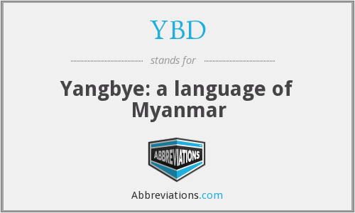 YBD - Yangbye: a language of Myanmar