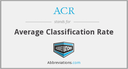 ACR - Average Classification Rate