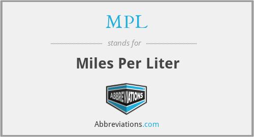 MPL - Miles Per Liter