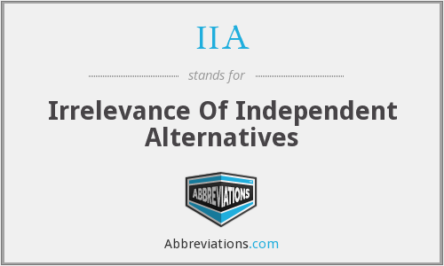 IIA - Irrelevance Of Independent Alternatives