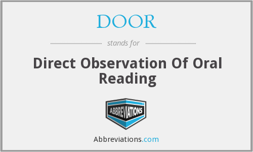 DOOR - Direct Observation Of Oral Reading