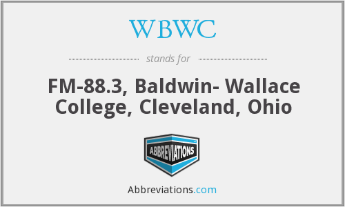 WBWC - FM-88.3, Baldwin- Wallace College, Cleveland, Ohio