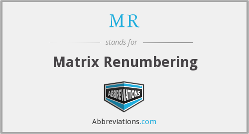 MR - Matrix Renumbering