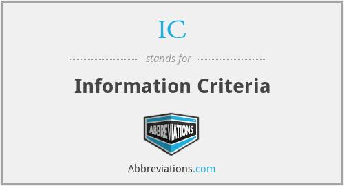 IC - Information Criteria