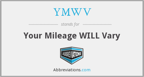 YMWV - Your Mileage WILL Vary