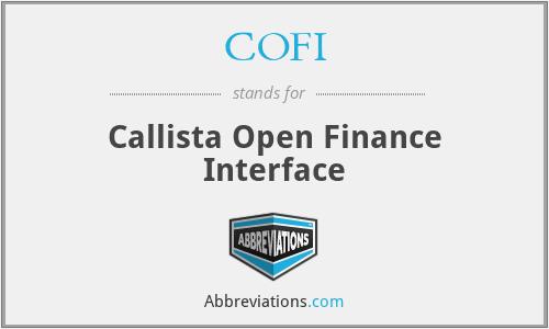 COFI - Callista Open Finance Interface