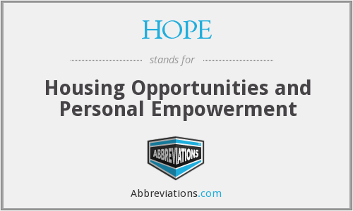 HOPE - Housing Opportunities and Personal Empowerment