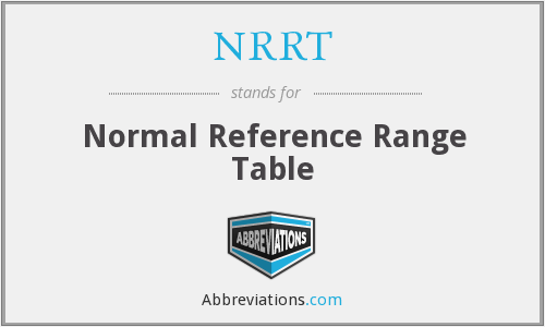 NRRT - Normal Reference Range Table