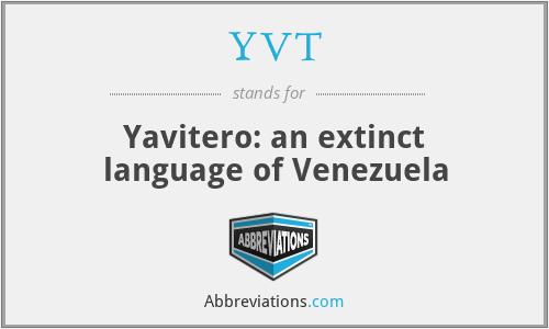 YVT - Yavitero: an extinct language of Venezuela