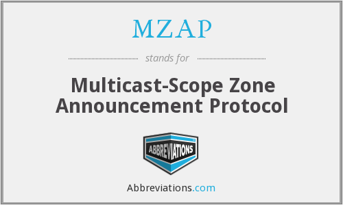 MZAP - Multicast-Scope Zone Announcement Protocol