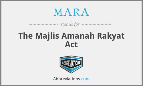 MARA - The Majlis Amanah Rakyat Act