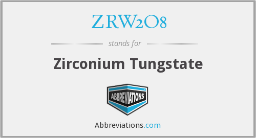 What does ZRW2O8 stand for?