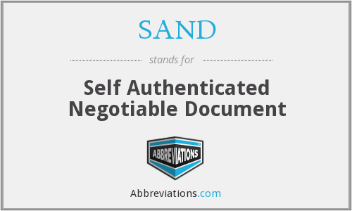 SAND - Self Authenticated Negotiable Document
