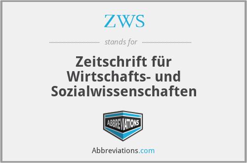 ZWS - Zeitschrift für Wirtschafts- und Sozialwissenschaften