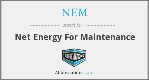 NEM - Net Energy For Maintenance