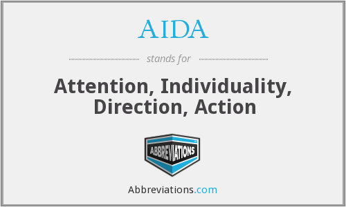 AIDA - Attention, Individuality, Direction, Action