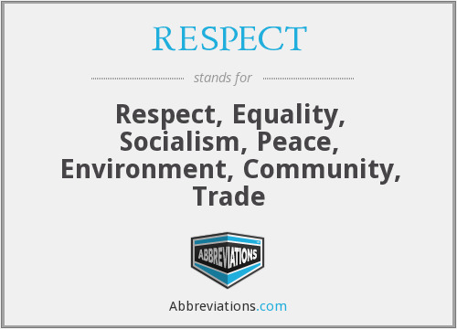 RESPECT - Respect, Equality, Socialism, Peace, Environment, Community, Trade