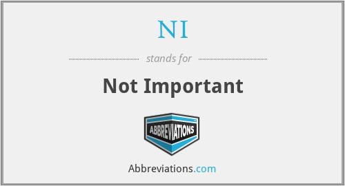 NI - Not Important