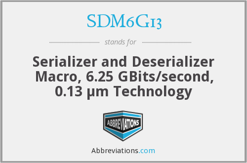What does SDM6G13 stand for?
