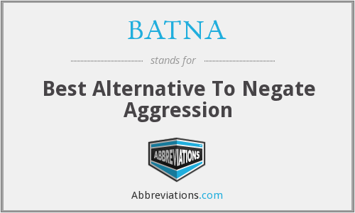 BATNA - Best Alternative To Negate Aggression