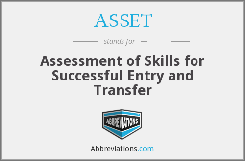 ASSET - Assessment of Skills for Successful Entry and Transfer