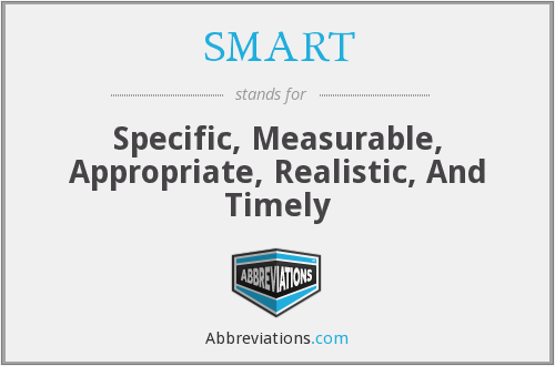 SMART - Specific, Measurable, Appropriate, Realistic, And Timely