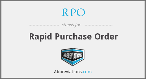 RPO - Rapid Purchase Order