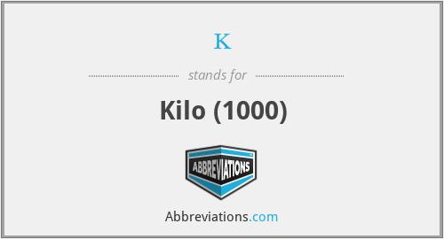k - Kilo (1000)