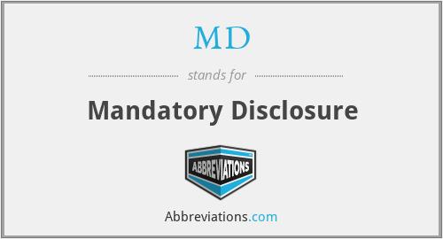 MD - Mandatory Disclosure