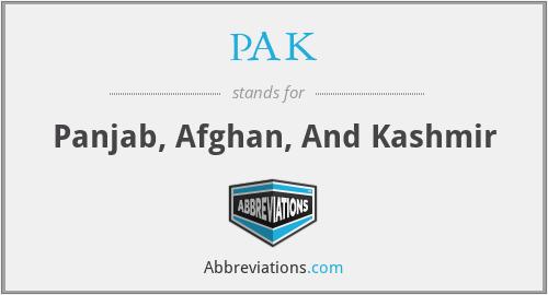 PAK - Panjab, Afghan, And Kashmir