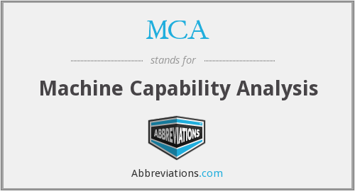 MCA - Machine Capability Analysis