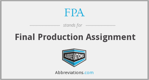FPA - Final Production Assignment