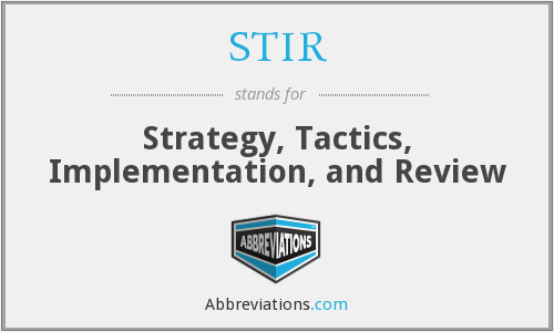 STIR - Strategy, Tactics, Implementation, and Review