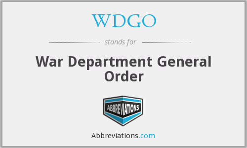 WDGO - War Department General Order