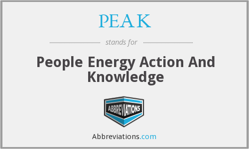 PEAK - People Energy Action And Knowledge