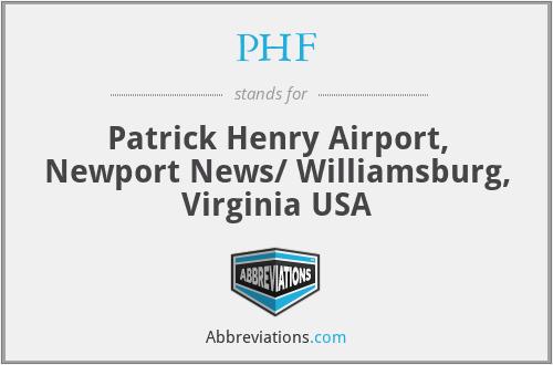 PHF - Patrick Henry Airport, Newport News/ Williamsburg, Virginia USA