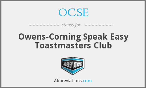 OCSE - Owens-Corning Speak Easy Toastmasters Club