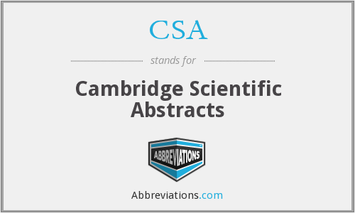 CSA - Cambridge Scientific Abstracts