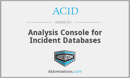 ACID - Analysis Console for Incident Databases