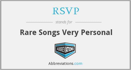 RSVP - Rare Songs Very Personal