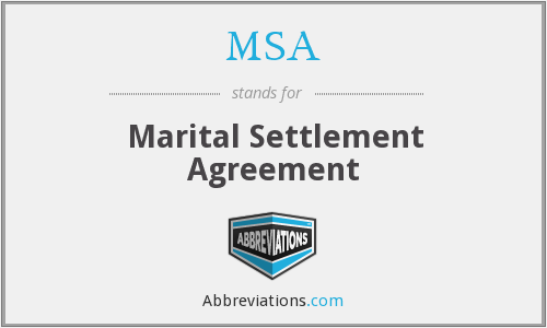 MSA - Marital Settlement Agreement