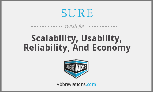 SURE - Scalability, Usability, Reliability, And Economy