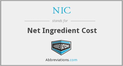 NIC - Net Ingredient Cost