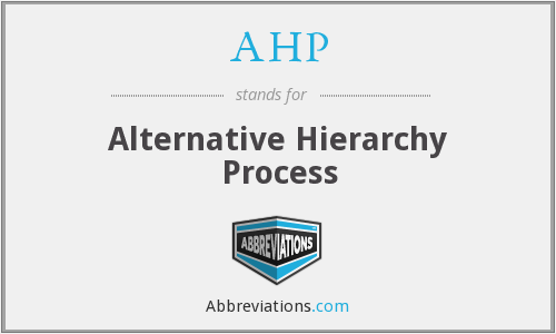 AHP - Alternative Hierarchy Process