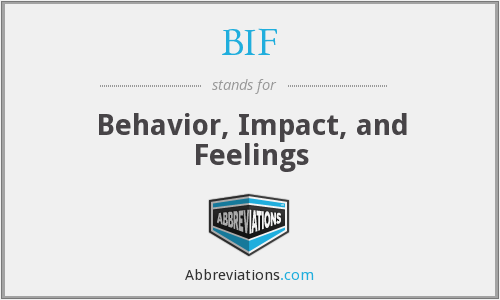 BIF - Behavior, Impact, and Feelings