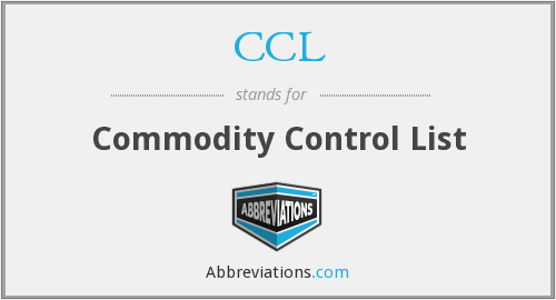 CCL - Commodity Control List