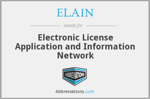 ELAIN - Electronic License Application and Information Network