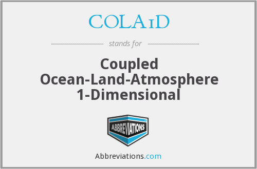 COLA1D - Coupled Ocean- Land- Atmosphere 1- Dimensional